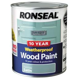 Ronseal Weatherproof No Primer Exterior Wood Paint 750ml - Duck Egg Satin