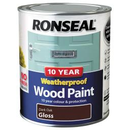 Ronseal Weatherproof Exterior Wood Paint 750ml - Dark Oak Gloss
