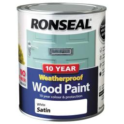 Ronseal Weatherproof No Primer Exterior Wood Paint 750ml - White Satin