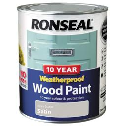 Ronseal Weatherproof No Primer Exterior Wood Paint 750ml - Grey Stone Satin