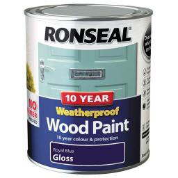 Ronseal Weatherproof Exterior Wood Paint 750ml - Royal Blue Gloss