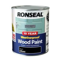 Ronseal Weatherproof Exterior Wood Paint 750ml - Black Gloss