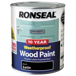 Ronseal Weatherproof No Primer Exterior Wood Paint 750ml - Black Satin