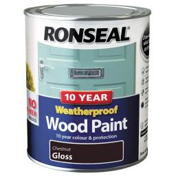 Ronseal Weatherproof Exterior Wood Paint 750ml - Chestnut Gloss