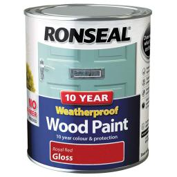 Ronseal Weatherproof No Primer Exterior Wood Paint 750ml - Royal Red Gloss