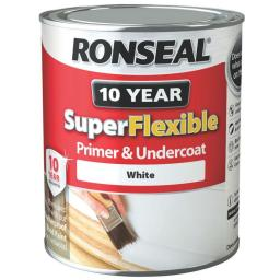 Ronseal Super Flexible Exterior Wood Primer And Undercoat 750ml Paint - White