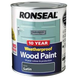 Ronseal Weatherproof No Primer Exterior Wood Paint 750ml - Grey Satin