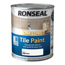 Ronseal One Coat Tile Paint 750ml - White High Gloss
