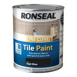 Ronseal One Coat Tile Paint 750ml - Black High Gloss