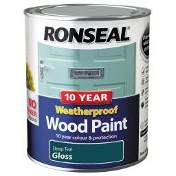Ronseal Weatherproof No Primer Exterior Wood Paint 750ml - Deep Teal Gloss