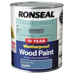 Ronseal Weatherproof No Primer Exterior Wood Paint 750ml - Midnight Blue Satin