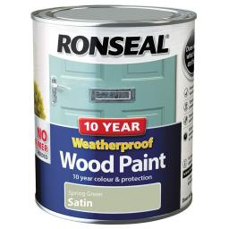 Ronseal Weatherproof Exterior Wood Paint 750ml -Spring Green Satin