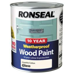 Ronseal Weatherproof No Primer Exterior Wood Paint 750ml - Country Cotton Gloss