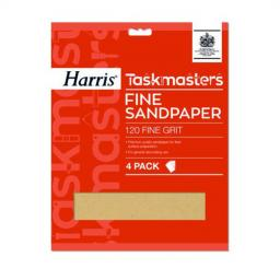 Harris Taskmasters Sandpaper - Fine 120 Grit (Pack of 4)
