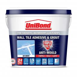 Unibond Triple Protect Anti Mould Wall Tile Adhesive & Grout 1.28kg - Ice White