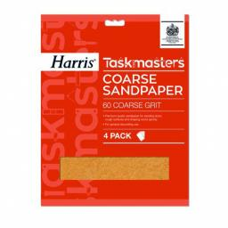 Harris Taskmasters Sandpaper - Coarse 60 Grit (Pack of 4)