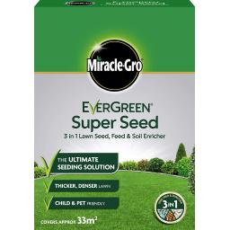 Miracle-Gro Evergreen Super Seed 3 in 1 Lawn Seed 33m2 Coverage 1kg